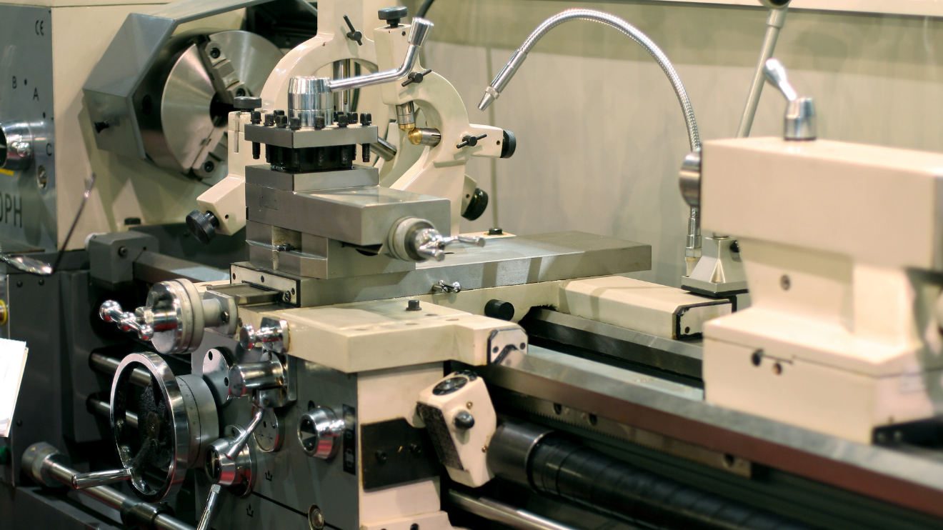 a lathe before operation
